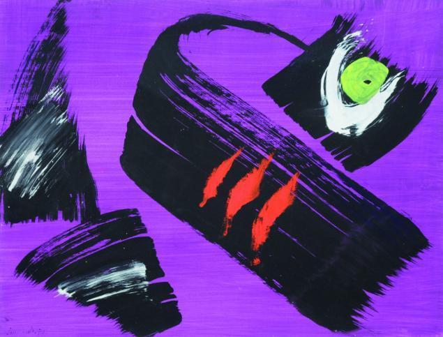 Gérard Schneider, 'Composition', 1972, Painting, Gouache and acrylic on paper, Samhart Gallery