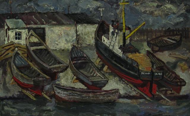 Vadim Semenovich Velichko, 'Barges', 1956, Painting, Oil on hardboard, Surikov Foundation