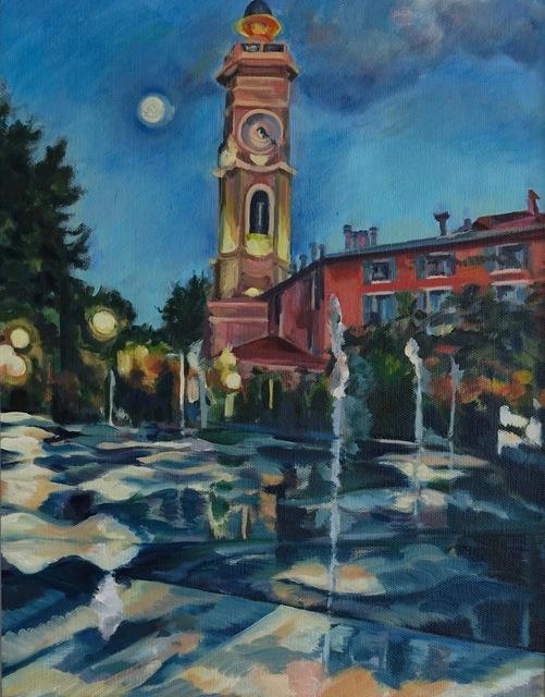 Dido Powell, 'San Souci Church, Nice, By Dusk', 2017, NoonPowell Fine Art