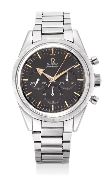 OMEGA, 'A fine and extremely rare stainless steel chronograph wristwatch with bracelet', 1958, Phillips