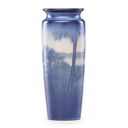 Tropical Scenic Vellum vase with palm trees, Cincinnati, OH