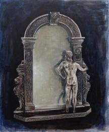 Nudist Museum Giftshop: Silver Mirror with Nude Bodybuilder