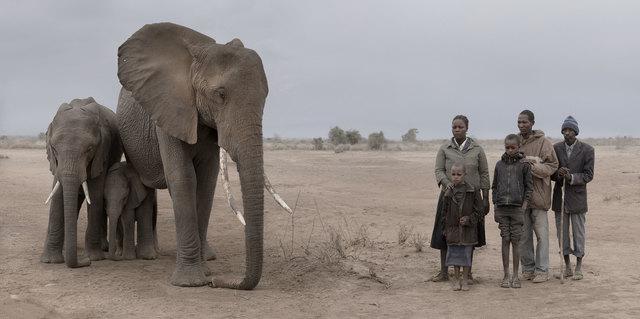 Nick Brandt, 'Elephant & Human Family', 2018, Atlas Gallery