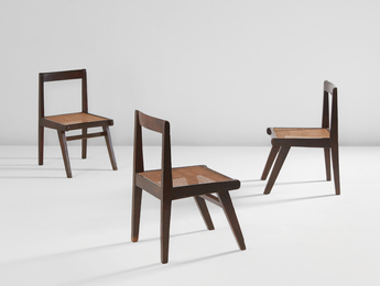 Three chairs, model no. PJ-SI-15-A, designed for the Himalayan Hostel cafeteria and private residences, Chandigarh