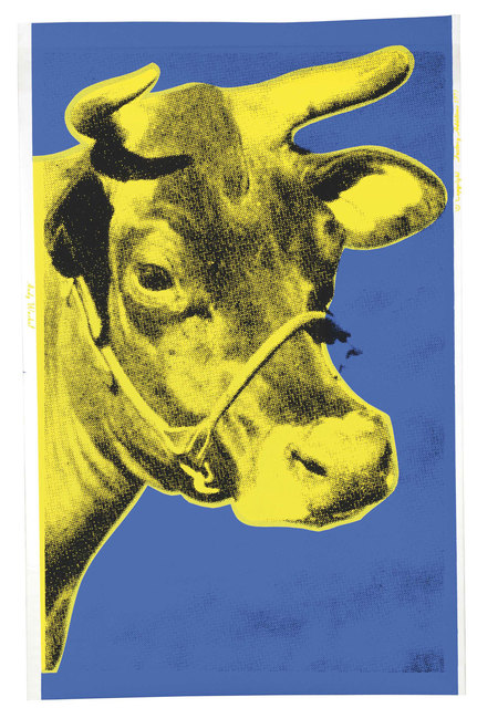 Andy Warhol, 'Cow, Blue and Yellow (FS II.12)', 1971, Print, Screenprint on Wallpaper, Revolver Gallery