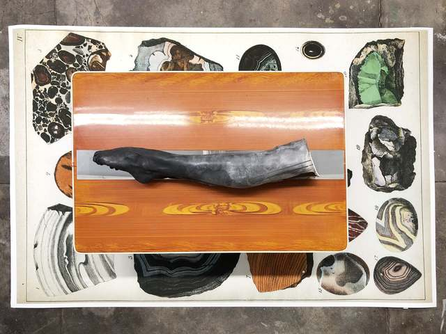 , 'Leg on mirror on table on stones (Pigmented partial leg collaboration with Julian Hoeber),' , Maccarone
