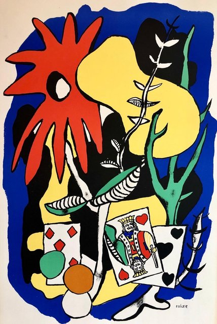 Fernand Léger, 'Fernand Leger School Prints Colorful Modernist King of Hearts Drawing Lithograph', 1940-1949, Lions Gallery