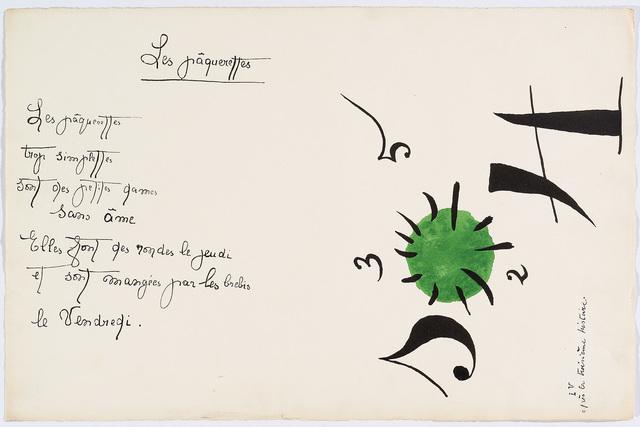 "Joan Miró, '""Il était une petite pie"" (There Was a Little Magpie) – Sheet V', 1928, Cerbera Gallery"