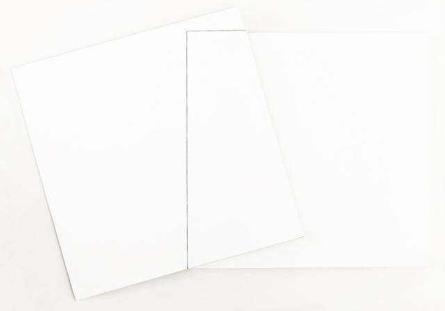 , 'Superposition et transparence: Tableau derrière 0°- Tableau devant basculé à 15°, milieu d'un de ses côtés sur angle bas gauche du tableau derrière,' 1980, Galerie Hervé Bize