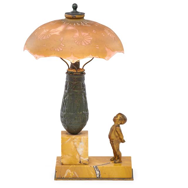 Galle, 'Allium shade on Art Deco base', Rago