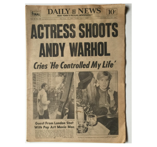 ", '""ACTRESS SHOTS ANDY WARHOL"" NY Daily News, 1968,' 1968, VINCE fine arts/ephemera"