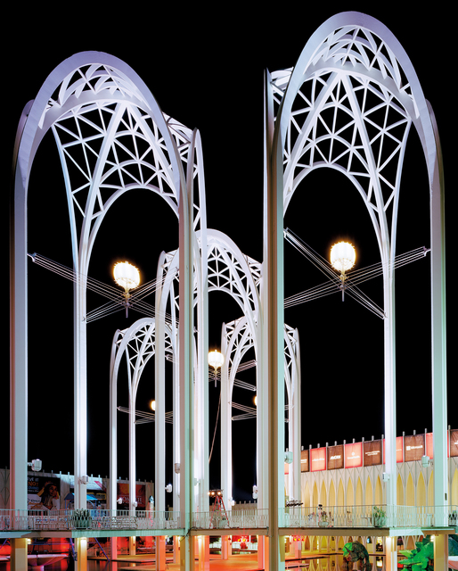 ", 'Seattle 1962 World's Fair, ""Century 21 Exposition,"" Science Center Arches at Night, View I,' 2014, Tracey Morgan Gallery"