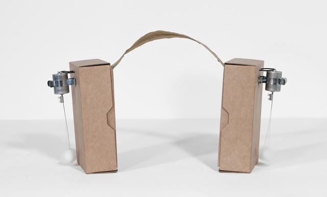 , '2 prepared dc-motors, cotton balls, cardboard boxes 16.5x12x5cm,' 2013, bitforms gallery