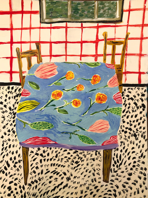 Polly Shindler, 'Kitchen with Red Wallpaper ', 2020, Painting, Acrylic on Paper, Freight + Volume
