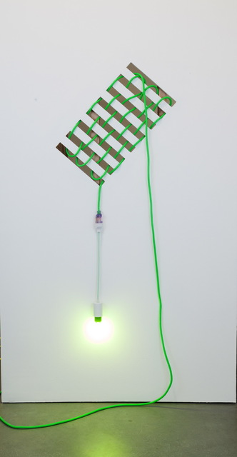 Dana Hemenway, 'Untitled (Drywall Weave – Green)', 2016, Sculpture, Laser cut drywall, wood, extension cord, custom fixture, colored compact fluorescent light bulb, Eleanor Harwood Gallery