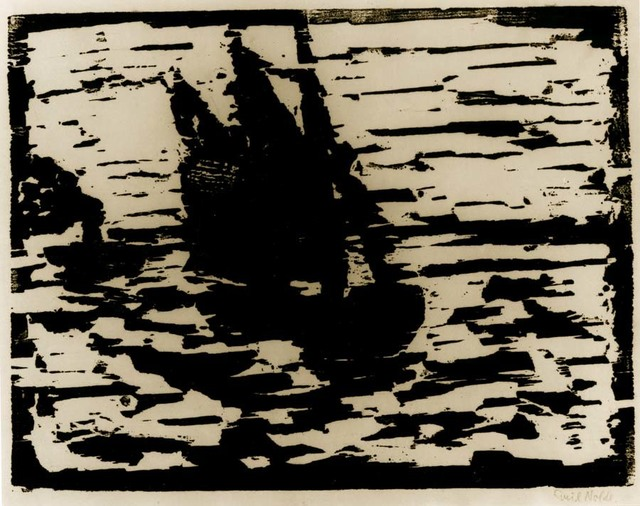 "Emil Nolde, '""SEGELBOOT"" (SAILBOAT)', 1910, Print, WOODCUT ON OATMEAL PAPER, Alice Adam Ltd."