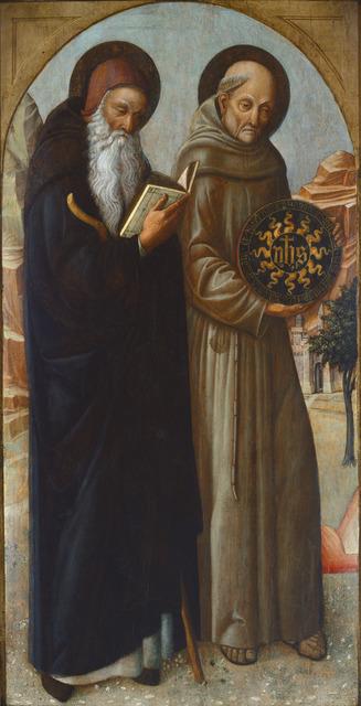 Jacopo Bellini, 'Saint Anthony Abbot and Saint Bernardino of Siena', 1459, Painting, Tempera on panel, National Gallery of Art, Washington, D.C.