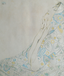 Young woman in floral shawl