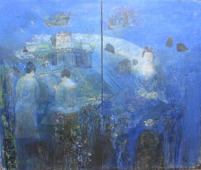 , 'Full Moon (diptych) 明月照舟中(雙聯畫),' 2012, ArtCN
