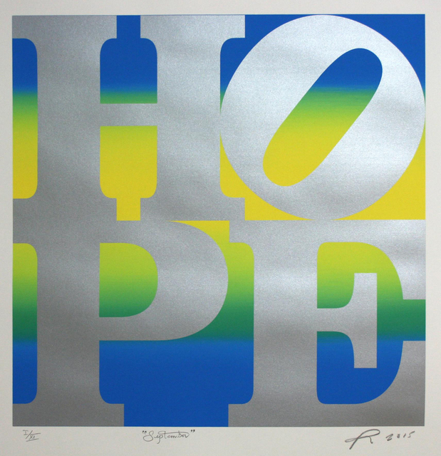 , ' HOPE September (silver over blue-yellow-blue blend) ,' 2015, Contini Art Gallery