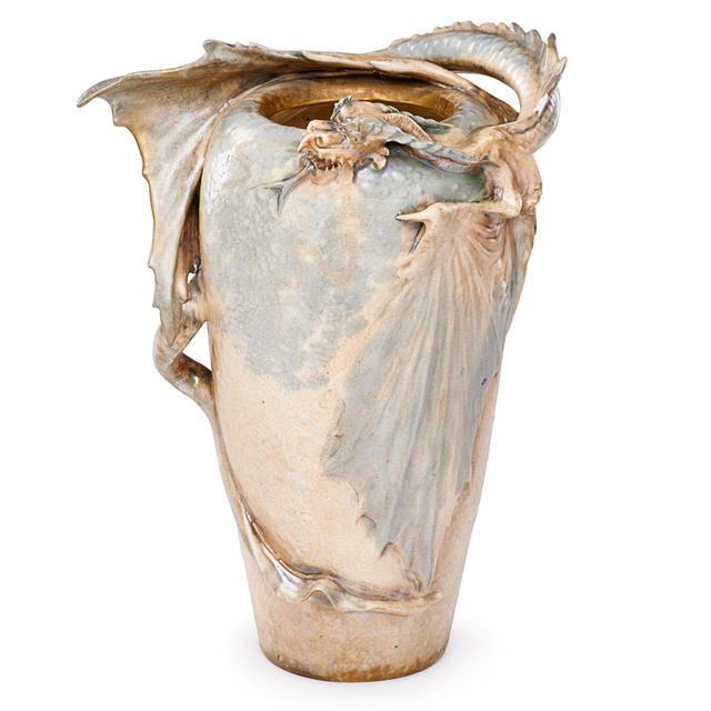 Eduard Stellmacher, 'Riessner, Stellmacher & Kessel, Large Dragon Vase, Turn-Teplitz, Bohemia', ca. 1905, Rago