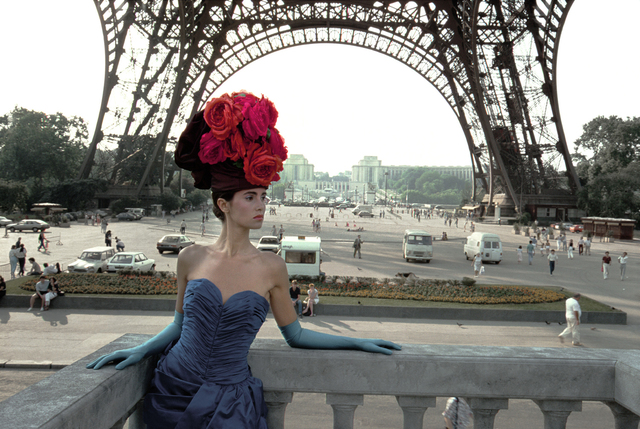 Frank Horvat, 'Patrizia (For Figaro Madame, Eiffel Tower), Paris', 1986, Photography, Archival Pigment Photograph, Holden Luntz Gallery