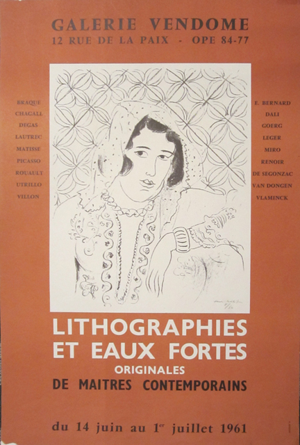 Henri Matisse, 'Galerie Vendome, Lithographies et Eaux Fortes', 1961, Posters, Lithographic Gallery Opening Poster, David Lawrence Gallery
