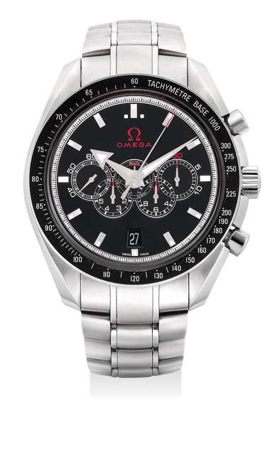 OMEGA, 'A very well-preserved stainless steel chronograph wristwatch with day, date, 30-minute and 12-hour counters, 7-day totalizer, bracelet, international warranty, product literature, hangtags and box', 2008, Phillips