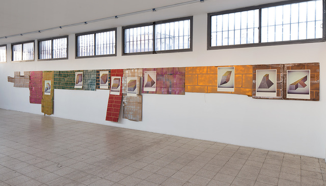 , 'Nine posters of Sol Lewitt wall paintings pasted onto nine paintings of walls,' 2015, Dvir Gallery