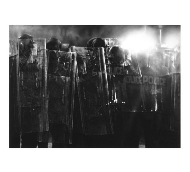 Robert Longo, 'Untitled (Riot Cops)', 2017, Print, Ditone print on Hahnemuehle Photo Rag Ultra Smooth 305g, Lougher Contemporary Gallery Auction