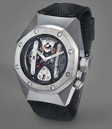 A unique and very fine alacrite 602 and titanium semi-skeletonized tourbillon wristwatch with dynamographe and power reserve, with guarantee and presentation box, sold to benefit charity