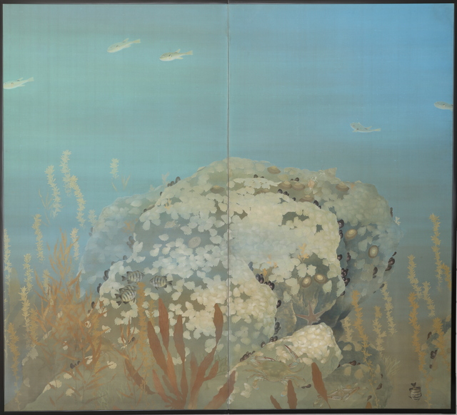 Unknown Artist, 'Folding Screen, Tropical Fish in Ocean (T-4169)', Showa era (1926, 1989), mid 20th century, Painting, Ink and mineral colors on paper, Thomsen Gallery
