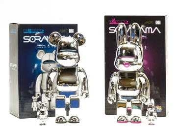 Be@rbrick 400% & 100%; R@bbrick 400% & 100% (Silver) (set of four)