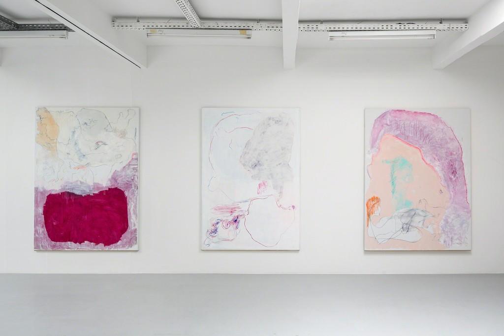 Gonn Mosny, Ausstellungsansicht, 2017. Von links: Gonn Mosny, 2016, LW 207 200 cm x 170 cm / 2016, LW 213 200 cm x 165 cm / Gonn Mosny, 2015, LW 199 200 cm x 149 cm / 2016, LW 210 200 cm x 140 cm / 2016, LW 223 200 cm x 150 cm,  courtesy by the artist and Volker Diehl Gallery. Foto: Verena Nagl