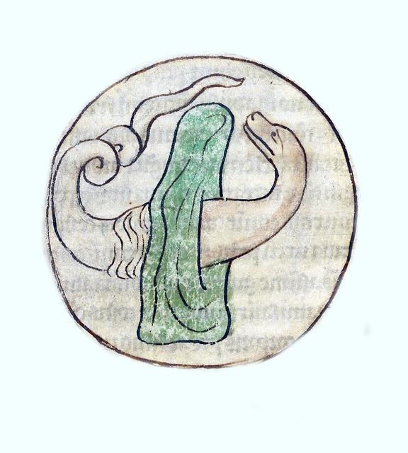 , 'A Snake (detail), Northumberland Bestiary,' 1250-1260, Machamux
