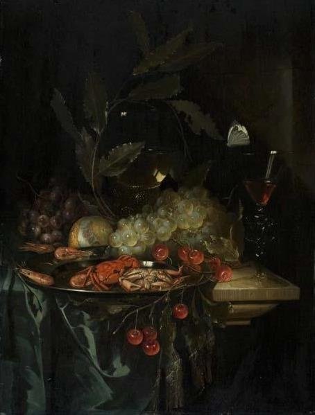 Pieter de Ring, 'Still Life with Crayfish', ca. 1655, Painting, Oil on wood panel, Davis Museum