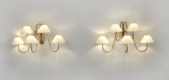 ", 'Pair of ""Bouquet"" five arm wall lights,' ca. 1950, Galerie Jacques Lacoste"