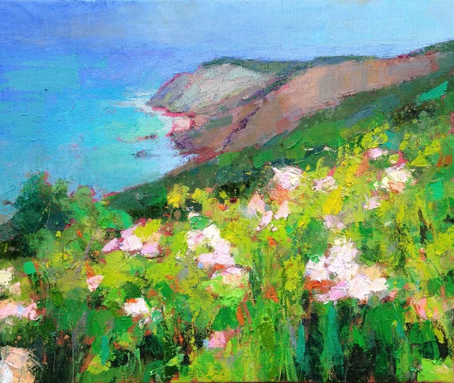 "Larry Horowitz, '""Gay Head"" oil painting of Aquinnah Cliffs with green grass and pink flowers', 2010-2017, Eisenhauer Gallery"