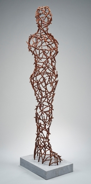 Tor Archer, 'A Garden Apparation', Sculpture, Fabrictaed copper, patina on marble base, Julie Nester Gallery