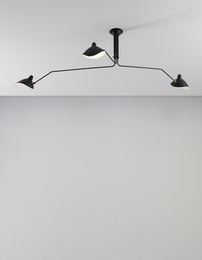 """Three-armed adjustable ceiling light with """"Casquette"""" shades"""