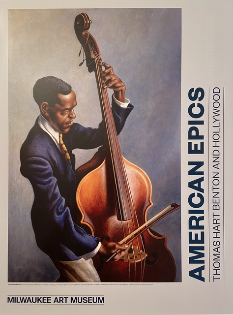 """Thomas Hart Benton, '""""American Epics, Thomas Hart Benton and Hollywood"""" Rare Museum TWO SIDED poster highlighting a painting of an African American Musician', 2016, Ephemera or Merchandise, TWO SIDED Museum Exhibition Lithographic Poster, David Lawrence Gallery"""