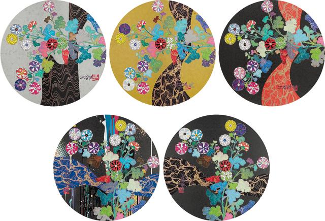 Takashi Murakami, 'A Red River is Visible; Kansei: The Golden Age; Hokkyo Takashi - Kansei; Kansei: Wildflowers Glowing in the Night; and Korin: Stellar River in the Heavens', 2014-15, Phillips