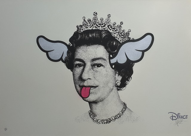 D*Face, 'Dog Save The Queen (Silver Wings)', 2004, Print, Hand embellished screen print in colours on wove paper, Tate Ward Auctions