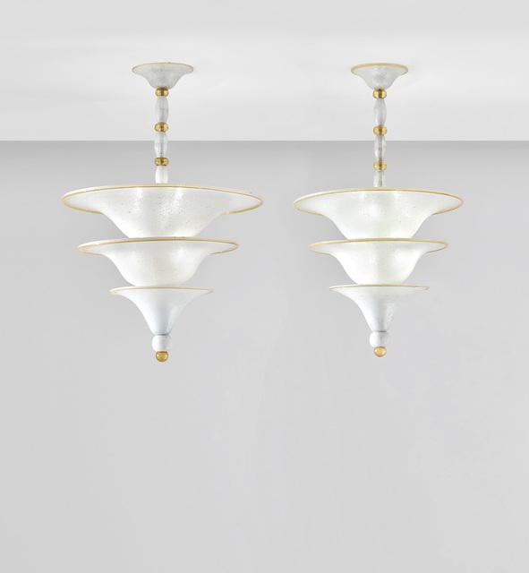Napoleone Martinuzzi, 'Two rare ceiling lights', circa 1929, Design/Decorative Art, Pulegoso glass, painted metal., Phillips
