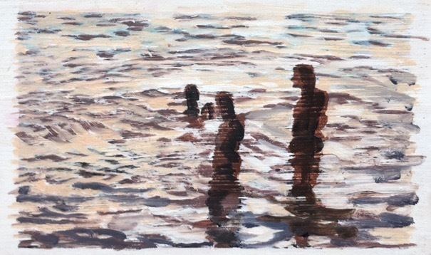 """Carol Bennett, '""""Listening"""" black and white abstract oil painting of figures in the water', 2017, Eisenhauer Gallery"""
