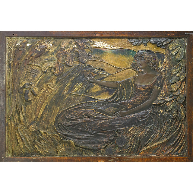'Art Nouveau, Symbolist Panel With Woman Reading', Early 20th C., Rago/Wright