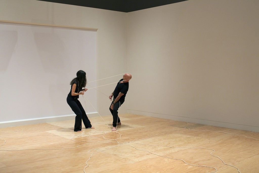 """Rope Dance,"" 2015, concept, title and score by Anna Halprin; interpretations and variations by Janine Antoni, right, and Stephen Petronio, left; commissioned by The Fabric Workshop and Museum, Philadelphia. ""Rope Dance"" performance part of ""Entangle,"" Tang Teaching Museum, March, 2017"