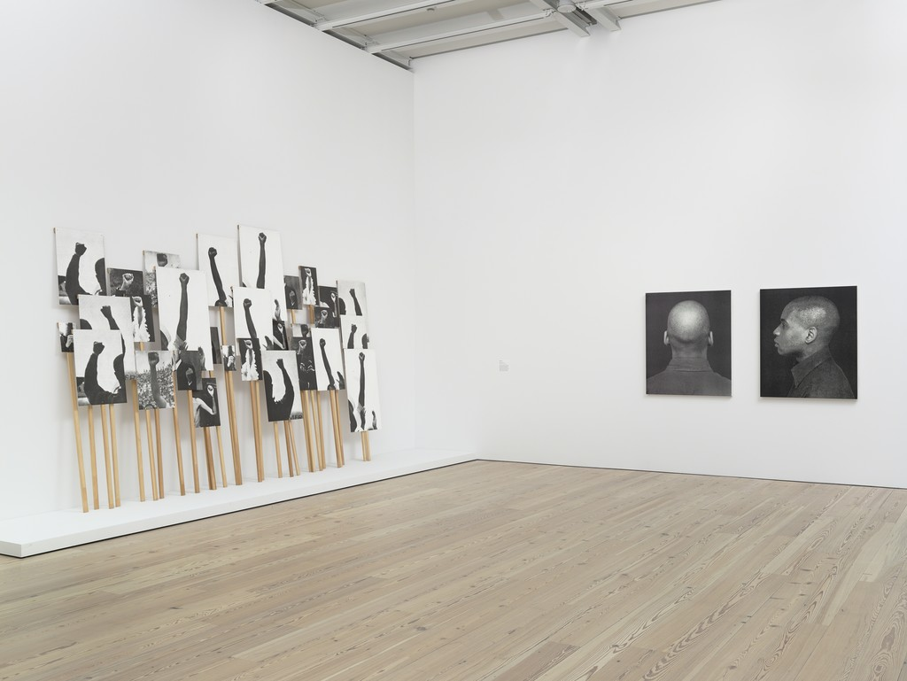 """Installation view Human Interest: Portraits from the Whitney's Collection (April 6, 2016-April 1, 2017), Whitney Museum of American Art, N.Y. Photograph by Ronald Amstutz. left to right: Annette Lemieux, Left Right Left Right"""" 1995 (2001.1761-dd); Glenn Ligon, Self Portrait #7, 1996 (2012.105); Glenn Ligon, Self Portrait, 1996 (P.2013.5)."""