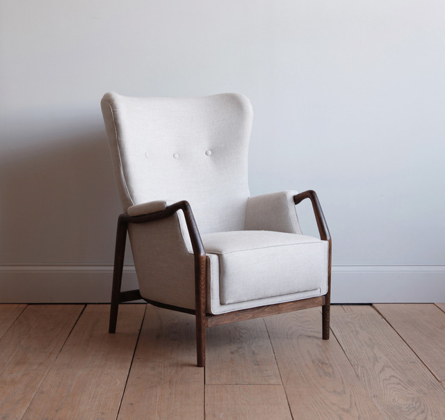 , 'HIGH WINGBACK CHAIR,' ca. 1950, Lawton Mull