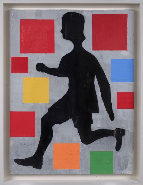 Donald Baechler, 'Five Color Abstraction with Running Figure', 2004, Berry Campbell Gallery